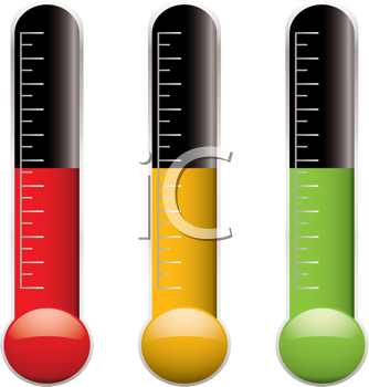 Royalty Free Clipart Image of a Set of Three Thermometers