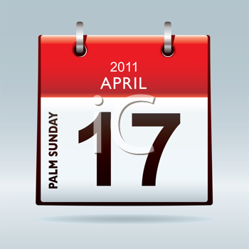 Palm sunday calendar 2011 icon or concept with red top