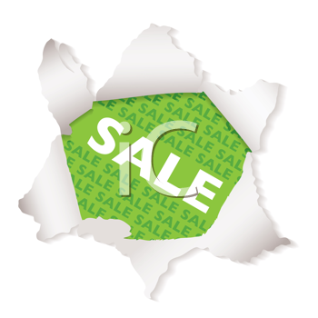 Green business sale paper explode icon with shadow