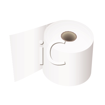 white toilet roll with perforations and realistic shadow