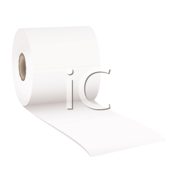 single roll of white rolled toilet paper with room for text