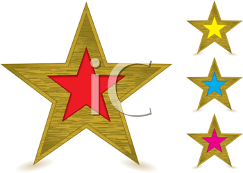 Collection of brushed metal gold star awards with coloured centers