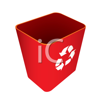Royalty Free Clipart Image of a Red Recycle Bin