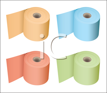 Colored toilet paper roll in a variety of subtle colours tissue