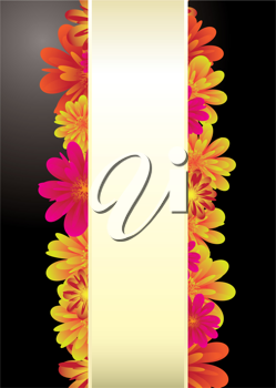 Floral elements on a black background with copy space for text