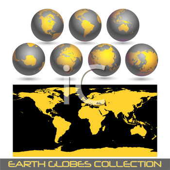 Royalty Free Clipart Image of a Map and Globes Collection