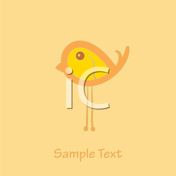 Royalty Free Clipart Image of a Little Bird With Space for Text