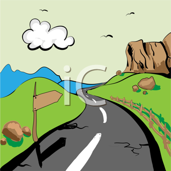 Royalty Free Clipart Image of a Road Through Landscape