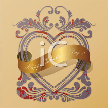Royalty Free Clipart Image of a Valentine's Day Heart Frame