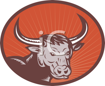 Royalty Free Clipart Image of a Bull With Large Horns