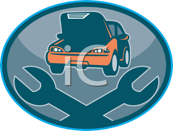 Royalty Free Clipart Image of a Car Repair Logo