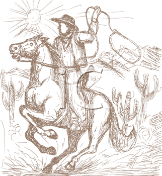 Royalty Free Clipart Image of a Cowboy Roping