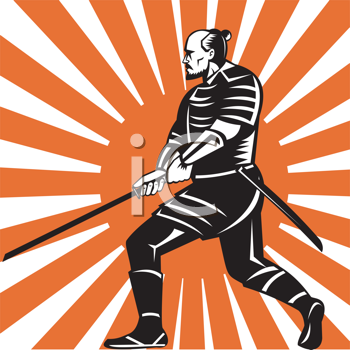 Royalty Free Clipart Image of a Samurai Warrior