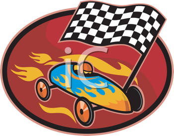 Royalty Free Clipart Image of a Winning Soapbox Derby Car