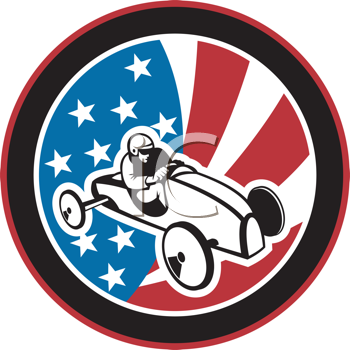 Royalty Free Clipart Image of a Soap Box Derby Shield on Stars and Stripes