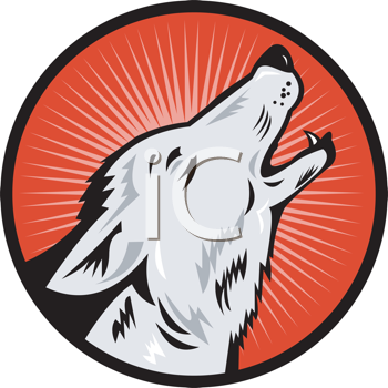 Royalty Free Clipart Image of a Howling Wolf