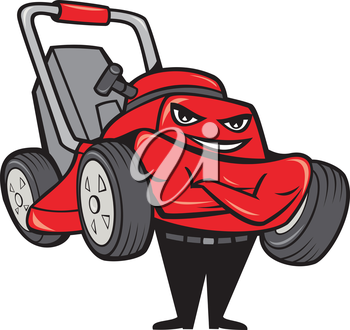 Illustration of lawn mower man smiling standing with arms folded facing front done in cartoon style on isolated white background.