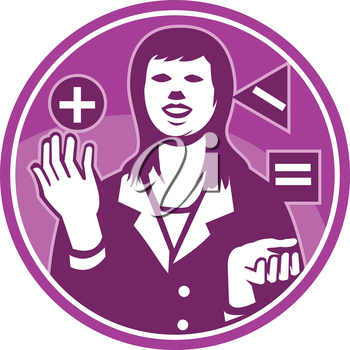 Illustration of a female office worker businesswoman facing front juggling square triangle circle with positive negative equals sign done in retro woodcut style set inside circle.