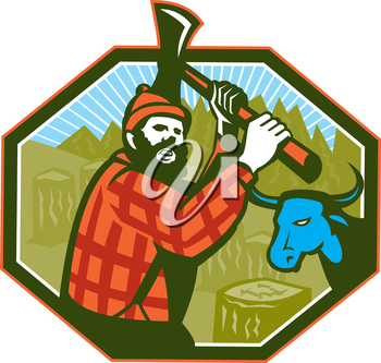 Illustration of Paul Bunyan a lumberjack sawyer forest worker swinging an axe with tree stumps and Babe the blue ox bull cow in background set inside hexagon done in retro style