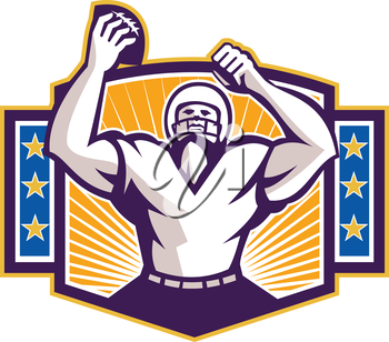 Illustration of an american football gridiron wide receiver running back player celebrating a touchdown facing front set inside shield crest with stars and sunburst done in retro style on isolated bac