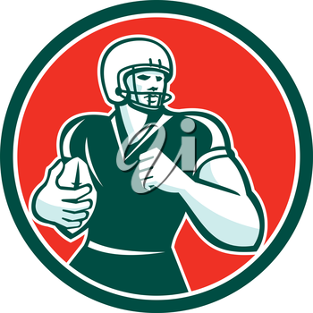 Illustration of an american football gridiron player running back with ball looking to the side set inside circle on isolated background done in retro style.