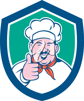 Illustration of a chef cook looking happy smiling with thumbs up set inside shield crest on isolated background done in cartoon style.