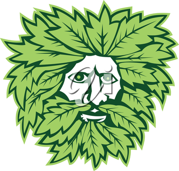 Illustration of green man with face surrounded by leaves viewed from front on isolated white background done in retro style.