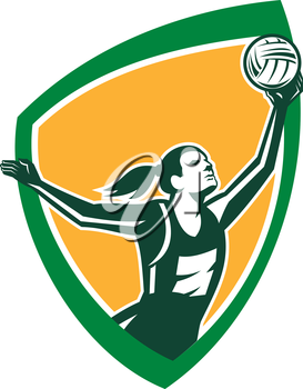 Illustration of a netball player catching rebounding ball set viewed from the side set inside shield crest on isolated background done in retro style.