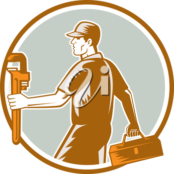 Illustration of a plumber walking carrying toolbox and holding monkey wrench set inside circle facing side on isolated background done in retro woodcut style.