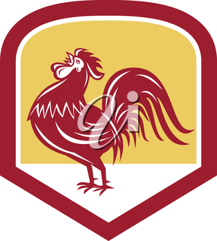 Illustration of a rooster cockerel crowing facing side set inside shield crest shape  done in retro woodcut style.