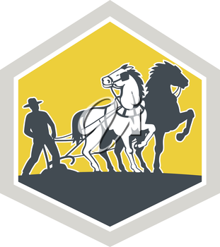 Illustration of farmer and horse plowing farmer field viewed from front set inside crest shield shape done in retro woodcut style on isolated background.