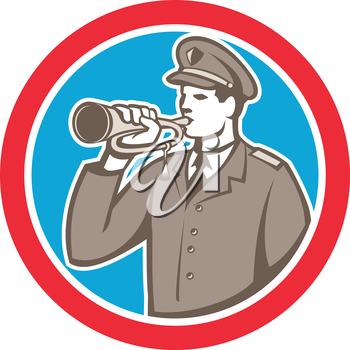 Illustration of a soldier military police personnel  blowing a bugle set inside a circle done in retro style.