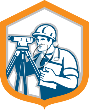 Illustration of a surveyor geodetic engineer with theodolite instrument surveying viewed from side set inside shield crest done in retro style on isolated white background.