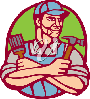 Illustration of a builder carpenter construction worker holding hammer and paintbrush arms crossed looking to the side set inside circle on isolated background done in woodcut linocut style.
