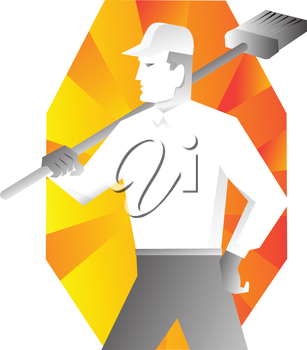 vector illustration of a male cleaner with broom looking to side retro style with sunburst in background.