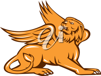 Illustration of a griffin, griffon, or gryphon sitting down looking up viewed from side on isolated white background done in retro style