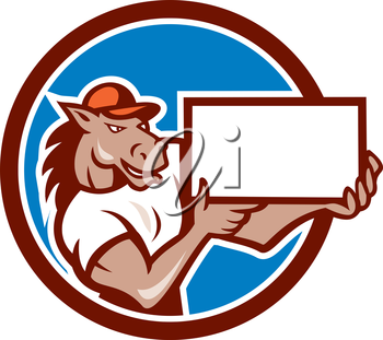 Illustration of a horse arms holding blank sheet board presenting set inside circle on isolated background done in cartoon style.