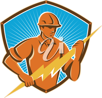Illustration of an electrician construction worker holding a lightning bolt set inside shield done in retro style in isolated white background.