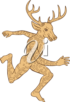 Illustration of a half man half deer animal with tattoos running viewed from side done in cartoon style on isolated white background.