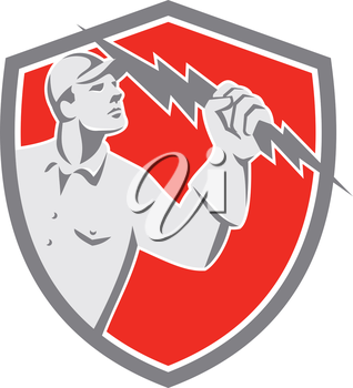 Illustration of an electrician construction worker lineman looking up holding a lightning bolt throwing viewed from the side set inside shield crest done in retro style on isolated background.