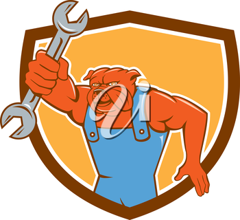 Illustration of a bulldog mechanic holding spanner facing front set inside shield crest done in cartoon style.