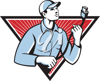 Illustration of a worker technician holding an HDMI cable set inside triangle done in retro style.