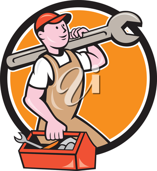 Illustration of a mechanic in overalls and hat holding spanner wrench on shoulder and carrying toolbox facing side set inside circle on isolated background done in cartoon style.