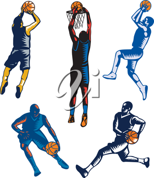 Collection or set of illustrations of basketball player jump shot jumper shooting jumping dunking and dribbling on isolated white background done in retro woodcut style.