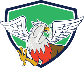 Illustration of a hippogriff or hippogryph, legendary creature with front quarters of an eagle and the hind quarters of a horse set inside shield shape done in cartoon style.