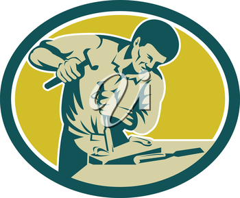 Illustration of a carpenter holding hammer and chisel chiseling viewed from the side set inside oval shape on isolated background done in retro style.