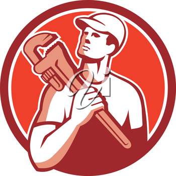 Illustration of a tradesman plumber holding adjustable monkey wrench on shoulder looking up to the side set inside circle on isolated background done in retro style.