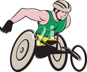 Illustration of a wheelchair racer racing on track and road viewed from side on isolated background done in cartoon style.