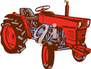 Illustration of a vintage farm tractor set on isolated white background viewed from the side done in retro woodcut style.