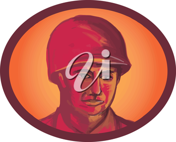 Illustration of a World War two American soldier serviceman head facing front set inside oval shape on isolated background.